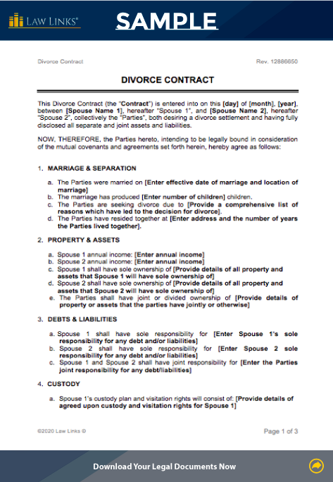 divorce contract template