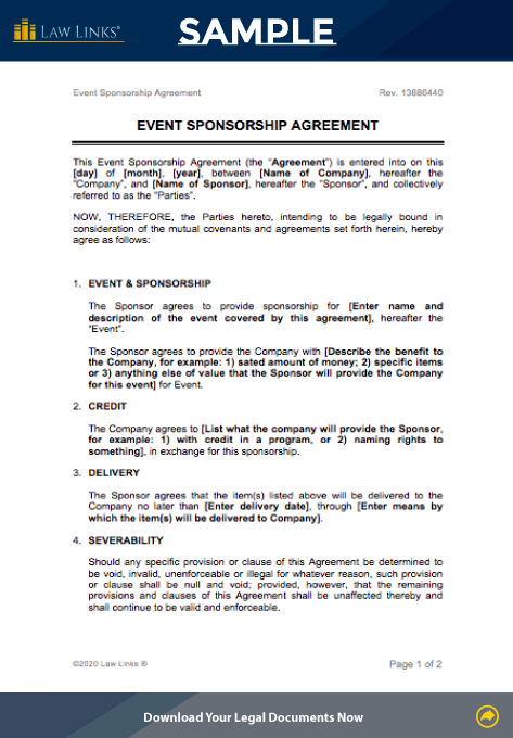 event sponsorship contract template
