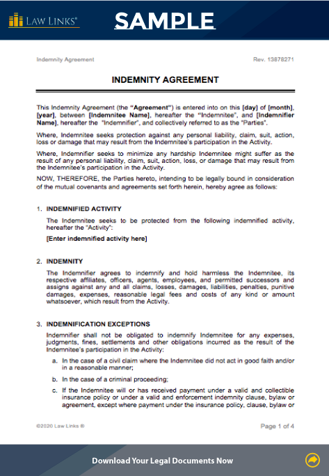 indemnity agreement download