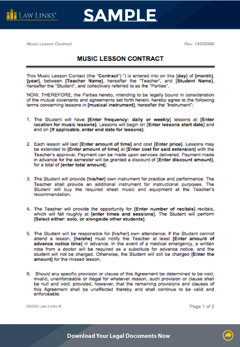 music lesson contract