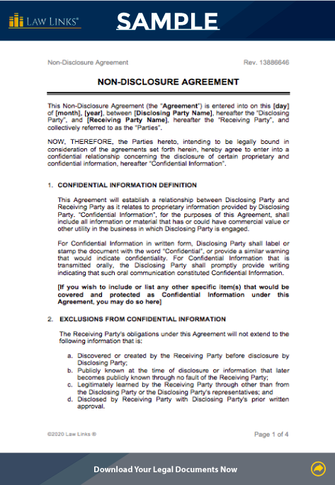 non-disclosure agreement template word